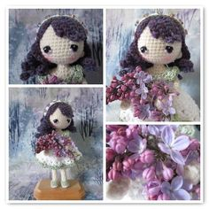 https://flic.kr/p/Fwia6o | Lavender inside | Lavender was made from the Yun Shu pattern, which is freely available on Ravelry.  She is wearing a sweet removable frock, and loves all things purple!  Right now we don't have any lavender, but we do have lilacs, violets, and bugle weed :-)