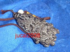 Tibetan Yak Horn Hand Carved Decoration hundred dishes Statue Pendant -G91513