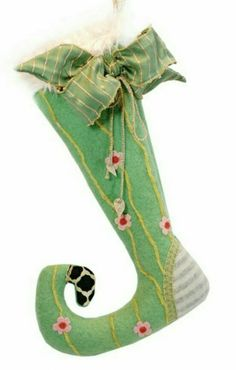 Lenae May 'Bertie Who' Elfin Stocking Christmas Stocking Decorations, Christmas Stockings, Christmas Crafts, Xmas, Holiday Decor, Crochet Stocking, Stained Glass Projects, Fancy, Sewing