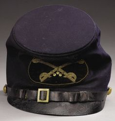 """Union Model 1858 Cavalry Officer's Forage """"McDowell"""" Cap. An oval felt panel with embroidered cavalry saber insignia is sewn to the front."""