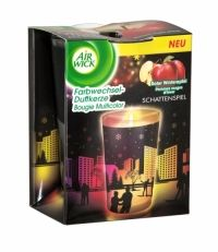 Air Wick Multicolour Silhouette Scented Candle Red Apple Air Wick´s Colour Change Candle is infused with essential oils that smell delightfully fragrant when lit. As the candle burns, the fragrance is complimented by a soft and tranquil glow that starts to illuminate through the wax, creating a soft, changing rainbow effect. The fragrance and light work together to create a captivating atmosphere in your home. Contains foreign text.