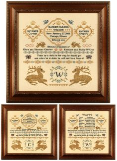 Family Record Samplers - This package contains three versions of a birth or family record. These samplers are a wonderful way to commemorate the birth of a child or to record your family history. Detailed stitching directions for all three samplers are included