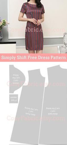 Simply Shift Free Dress Pattern Sewing Patterns Free, Free Sewing, Free Pattern, Silk Fabric, Peplum Dress, Sewing Projects, Crafty, Womens Fashion, Girls