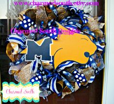 Montana State deco mesh wreath.  www.charmedsouth.etsy.com