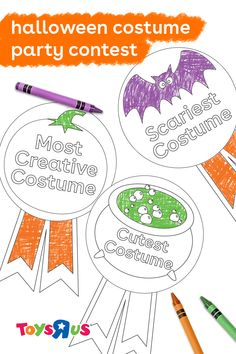 Each guest at your online Halloween party can compete in a costume contest then download the winning badges to color and wear. #halloweenideas #halloweencostumecontest #constumeparty #constumecontest #onlinehalloweenparty #partyonline #halloweenonline #costumes #contest #coloring #guests #party