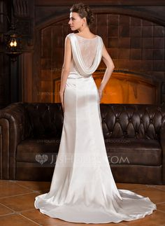 808ee73ba8b2 Trumpet/Mermaid Cowl Neck Court Train Charmeuse Wedding Dress With Ruffle  Lace Beading Sequins (