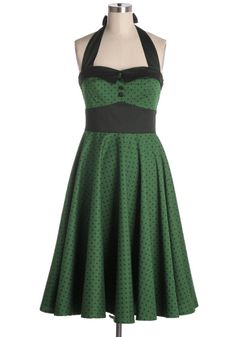 Green and black polka dot halter dress from Hell Bunny. Smock back. Back zipper. 98% cotton, 2% spandex Not stretchy Top part lined Indie, Retro, Party, Vintage, Plus Size, Convertible, Cocktail Dresses in Canada Roses by the Dozen in Green -