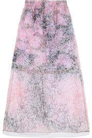 Printed silk-organza and cotton skirt
