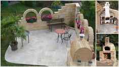 SELECT Travertinplatten, getrommelt /Mittlere SELECT Travertinplatten, getrommelt / Amazing ideas with stone gazebo without a roof 25 Stone Fireplace Ideas for a Cozy, Nature-Inspired Home Garten Garten Amazing ideas with stone gazebo without a roof