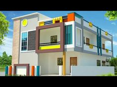 YouTube House Front Wall Design, House Balcony Design, Single Floor House Design, 2 Storey House Design, Village House Design, Bungalow House Design, Small House Design, House Elevation, Front Elevation