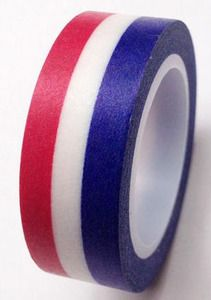 Red White Blue Horizontal Stripes Washi Tape - Love My Tapes