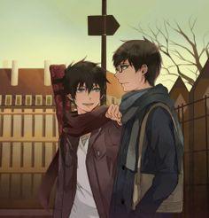 Blue Exorcist (Ao no Exorcist) - Rin Okumura Yukio Okumura. Hot Anime Guys, I Love Anime, Awesome Anime, Rin Okumura, Mephisto, Blue Exorcist Anime, Ao No Exorcist, Manga Art, Manga Anime