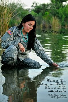 Native American ~ My beautiful Army Sister. Spc Tonya Yellowhorse - Diné US Army Veteran Airborne! For Water is Life. This too we will fight for & defend. Native American Girls, Native American Wisdom, Native American Beauty, Native American History, Native Girls, American Art, American Symbols, American Modern, Easy Listening