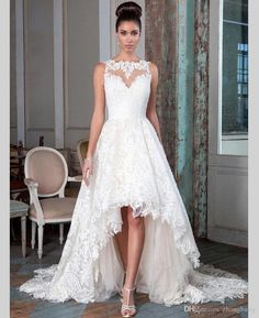 Lace Sleeveless High Low Ruch Customized Bridal Wedding Gowns Front Short And Long Back Wedding Dress Htn8 Robe De Mariee Designer Wedding Dresses Cheap Lace A Line Wedding Dresses From Zhongbarry, $122.62  Dhgate.Com