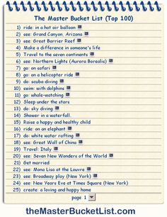 100 Things to do before you die.
