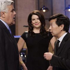 Jay chats with @Community NBC's Ken Jeon and @Parenthood NBC's Lauren Graham after the show. #TonightShow