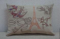 """Купить Подушка из серии """"Письма из Парижа"""" Птицы - серый, винтаж, подушка, Париж, оригинальный подарок"""