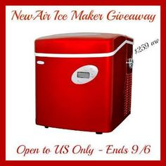 NewAir Ice Maker Giveaway – $259 value!! (ends 9/6)  Prize is the NewAir AI-215R Portable Ice Maker valued at $259!