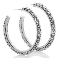 """#ContestInspiration: These R.J. Graziano """"Metal Mania"""" Bead-Textured Hoop Earrings at HSN.com add some texture to our #UltimateFallWardrobe! #HSN #FallFashion"""