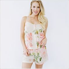 <p>A pretty spaghetti style tank top with front buttons in a shorter length and matching shorties.  Matched with an eye mask, a lovely set for giving and receiving. <ul> <li>100% Cotton Voile. Cotton Voile is a featherweight cotton.</li> </ul>