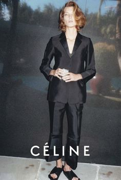 #Céline Spring/Summer 2013 Campaign. Featuring Daria Werbowy and photographed by Juergen Teller. How advertising can make that ugly furry slipper slightly desirable.
