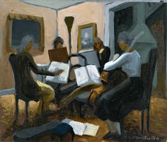 The Quartet. Thomas Hart Benton (1889 - 1975). Oil on tin metal