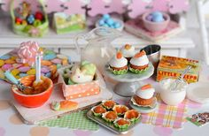 Miniature Easter Carrot Cake Cupcake and Cookie by CuteinMiniature