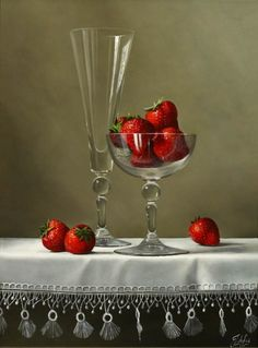 Johan de Fre (b.1952 ) — Strawberries on a White Cloth (804x682)
