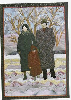 This quilt was made of old neckties by Kathryn Vitek of Maryland. It was designed from old family photos. Kathryn is the little girl in the quilt, with her parents.