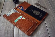 Leather iPhone 6 Case Leather Wallet Air ticket by CPScraftStudio