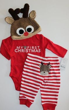 Baby Boys Carter's First Christmas Rudolph Pajamas Sleepwear Crochet Hat 3 Mo #Carters #TwoPiece
