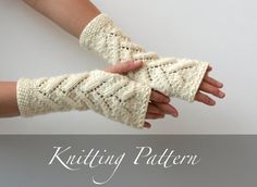 Knitting Pattern: Snowy Branches Fingerless Mitts  by AmyLaRoux