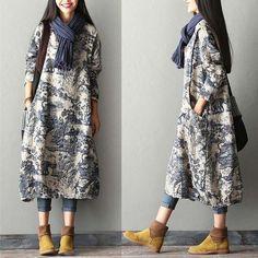 Blue White Print Porcelain Floral Cotton Linen Dress Robe Fashion Women Clothes Q1410A
