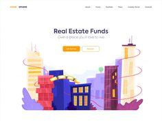 Landing page – RealEstate - Web-Design Flat Web Design, Site Web Design, Web Design Mobile, Web Design Tips, Web Design Trends, Layout Design, Interaktives Design, Design Plat, Website Design Layout