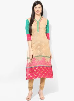 Buy Plume Beige Embroidered Silk Blend Kurta for Women Online India, Best Prices, Reviews | PL879WA99PIYINDFAS