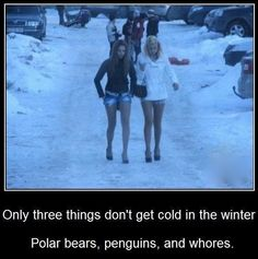HA! its sad, but true and I dont think they mean just street walkers, most of the ladies out there that take looking sexy over staying warm. Not me man, no things. I like being warm. lol :-P