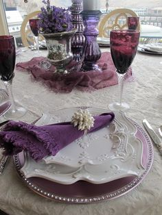 Electrifying!  Love the purple with white...Also love the shapes of the plates