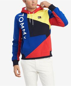 Tommy Hilfiger Men's Finesse Colorblocked Hoodie, Created for Macy's - Surf the Web Blue / Multi Sweater Hoodie, Long Sleeve Sweater, Pullover, Men Sweater, Hoodie Jacket, Sueter Tommy Hilfiger, Bold Logo, Plus Size Activewear, Mens Big And Tall