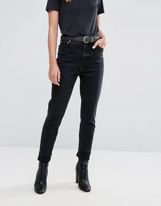 9037bc65f3 Cheap Monday High Rise Mom Jean in Washed Black - Black Black Mom Jeans  Outfit,