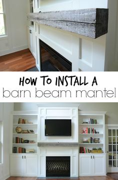 DIY Home Decor Inspiration : Illustration Description Learn how to install a barn beam mantel! -Read More – Inspiration Design, Room Inspiration, Built In Cabinets, Wood Beams, My Living Room, Built Ins, Barn Wood, Decoration, Great Rooms