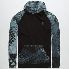 Tie dye Aztec print at kangaroo pocket and sleeves. Tonal faux leather Lira badge at chest. Mens Lightweight Hoodie, Stylish Hoodies, Future Fashion, Well Dressed Men, Cool Outfits, Men Sweater, Mens Fashion, Sweatshirts, Men's Hoodies