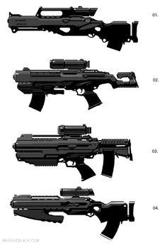 A few Sci Fi gun concepts Sci Fi Weapons, Weapon Concept Art, Weapons Guns, Fantasy Weapons, Sci Fi Fantasy, Fantasy Star, Cyberpunk, Space Opera, Future Weapons