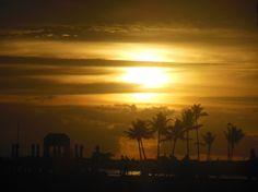 Sun setting at Waikiki Beach Oahu, Hawaii