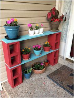 planter shelving DIY cinder blocks