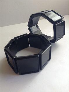 25mm Square Photo Bracelet Blank black 7 by GirlySuppliesDeJaVu