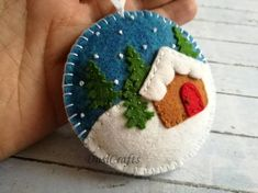 Felt Christmas ornament - Winter landscape, Christmas village ornament, Gingerbread house, tree decoration, gift topper / MADE TO ORDER Diy Christmas Village, Felt Christmas Decorations, Felt Christmas Ornaments, Handmade Ornaments, Handmade Christmas, Christmas Crafts, Beaded Ornaments, Father Christmas, Red Christmas