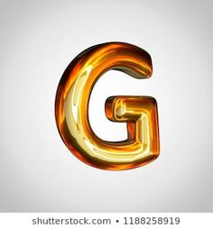 Golden letter G uppercase. render gold font with fire reflection isolated on white background Letter G, Black Backgrounds, Reflection, Alphabet, Monogram, Symbols, Fire, 3d, Illustration
