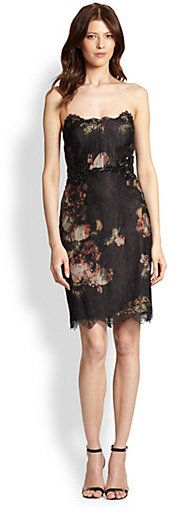 Notte by Marchesa Strapless Floral & Lace Dress on shopstyle.com