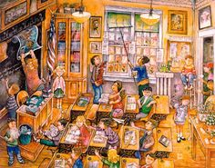 The School Room by Bill Bell ~ whimsical children