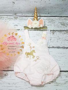 Unicorn headband, Unicorn tutu set with Unicorn Romper Birthday Tutu, Unicorn Birthday, Birthday Shirts, Unicorn Outfit, Unicorn Headband, Cute Halloween Costumes, Girl Costumes, Halloween Party, Pink And Gold